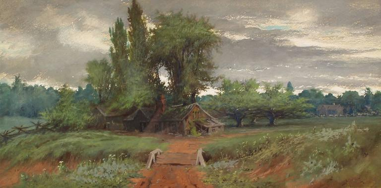 Amos Sangster Landscape Art - Storm Sky Over the Farm