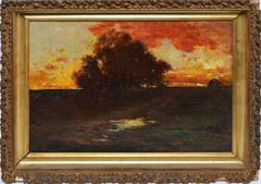 American School Tonalist Sunset Landscape