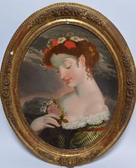Classical American School Portrait of a Young Woman with flowers