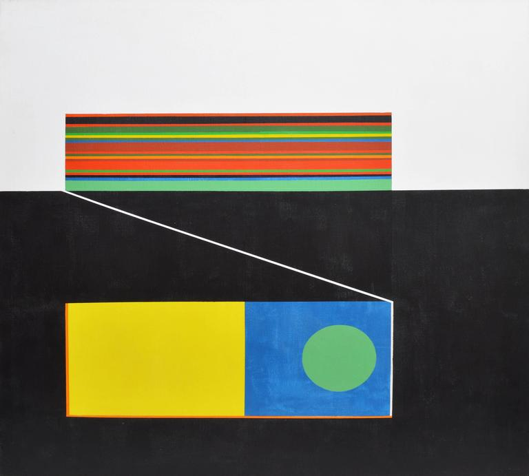 """Modernist geometric  abstract painting. Oil on canvas, circa 1960.  Unsigned.  Displayed in a brownwood frame.  Image size, 30""""L x 30""""H, overall 31""""L x 31""""H."""