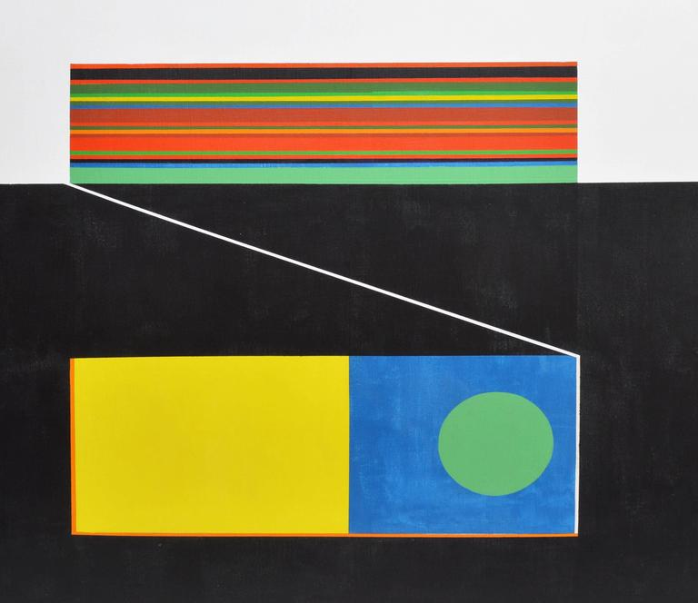 Geometric Mid Century Abstract - Abstract Geometric Painting by Unknown