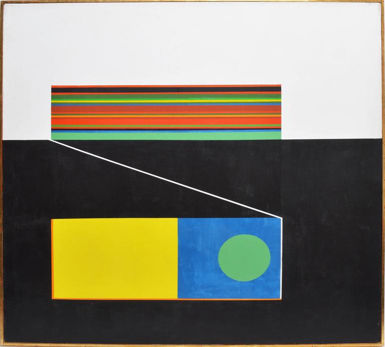 Unknown Abstract Painting - Geometric Mid Century Abstract