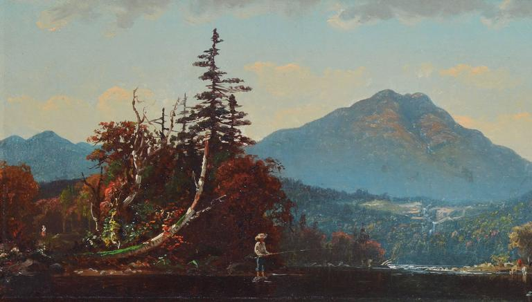 """Hudson River School fall landscape painting by John Joseph Enneking (1841-1916).  Oil on canvas, circa 1870.  Signed lower left, """"J.J. E."""".  Displayed in a giltwood frame, hanging wire attached.  Image size, 19""""L x 9.75""""H,"""