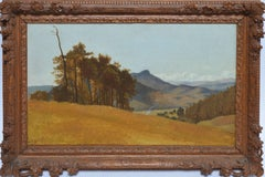 Antique Signed Swiss Landscape Mountain Oil Painting by Johann Biedermann