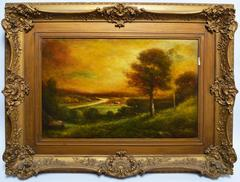 Hudson River School Landscape with a Luminous Sunset by Hudson Kitchell