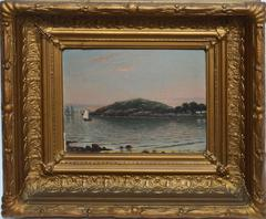 Sunset on a New England Coast with Sailboats by Thomas Oliver
