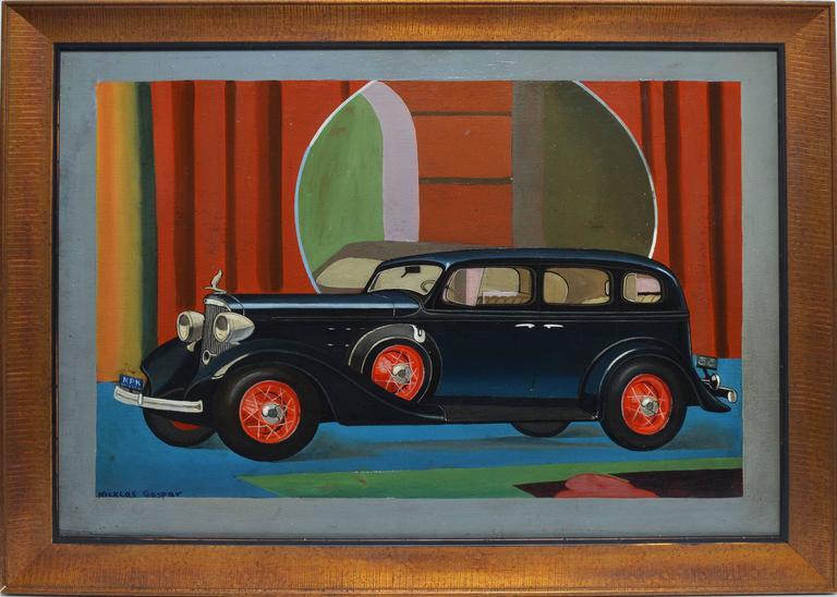nicklas gespar art deco classic car portrait painting for sale at 1stdibs. Black Bedroom Furniture Sets. Home Design Ideas