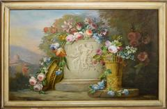 Large American School Flower Still Life and Landscape