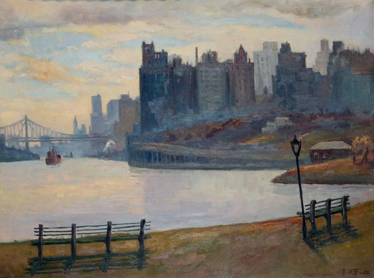 chuck fee wong new york city shore painting for sale at 1stdibs. Black Bedroom Furniture Sets. Home Design Ideas