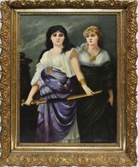 American School Portrait of Two Women with a Sword