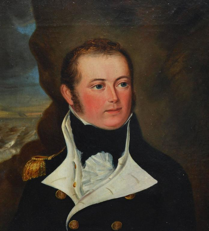 Portrait of a Military Officer - Brown Portrait Painting by Unknown
