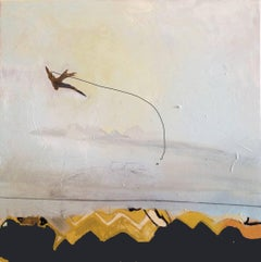 Contemporary minimal abstract expressionist painting bird yellow blue New York