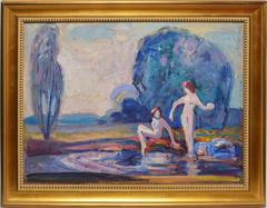 Impressionist Landscape with Nude Figures by Francis Focer Brown