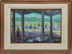 Ashcan School Summer Beach Day Original Antique Impressionist Oil Painting