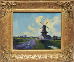 Impressionist Landscape with Wild Flowers and a Windmill