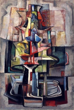Listed Modern Cubist Composition