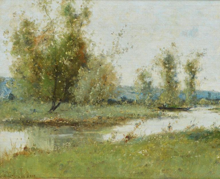 Barbizon River Landscape with a Boat by Victor Viollet-le-Duc  For Sale 3