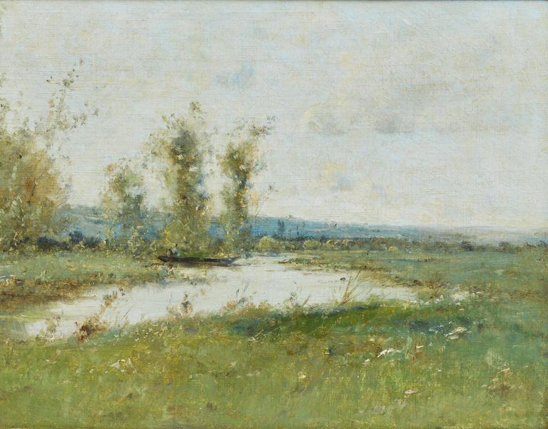 Barbizon River Landscape with a Boat by Victor Viollet-le-Duc  For Sale 4