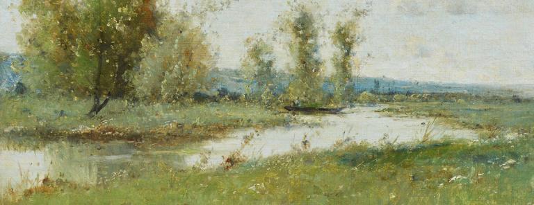 Barbizon River Landscape with a Boat by Victor Viollet-le-Duc  For Sale 5