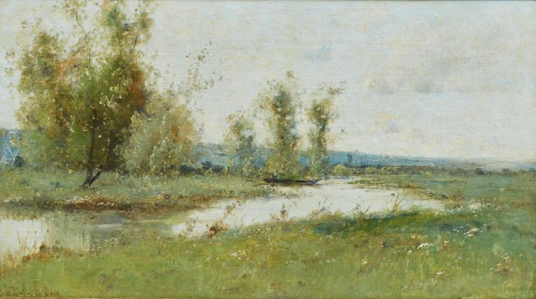 Barbizon River Landscape with a Boat by Victor Viollet-le-Duc  For Sale 2