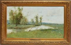 Barbizon River Landscape with a Boat by Victor Viollet-le-Duc