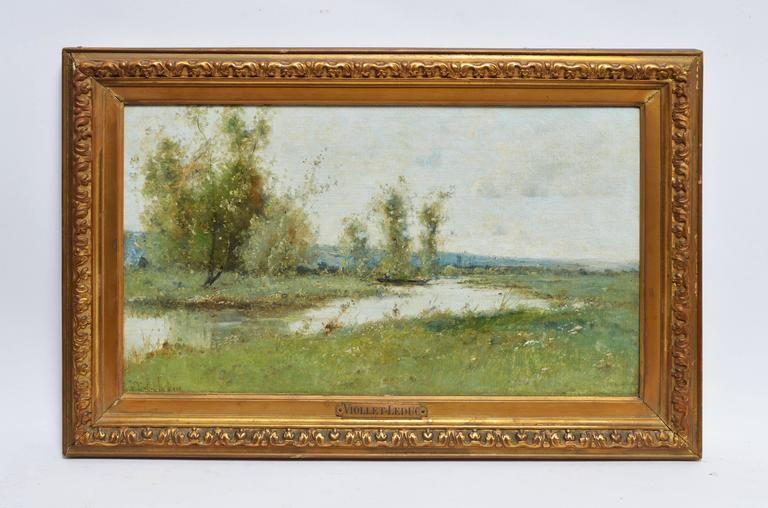 Barbizon River Landscape with a Boat by Victor Viollet-le-Duc  For Sale 1