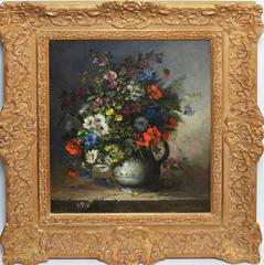 Antique Flower Still Life by Eugene Henri Cauchois