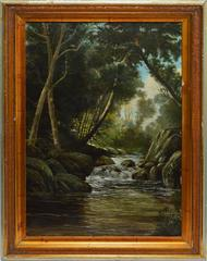 Hudson River School Forest Interior with Waterfall View