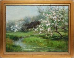 Cherry Blossom Landscape with Waterlilies and Ducks by Arthur Parton
