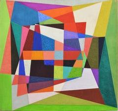 Geometric Abstract Mid Century Vintage Oil Painting