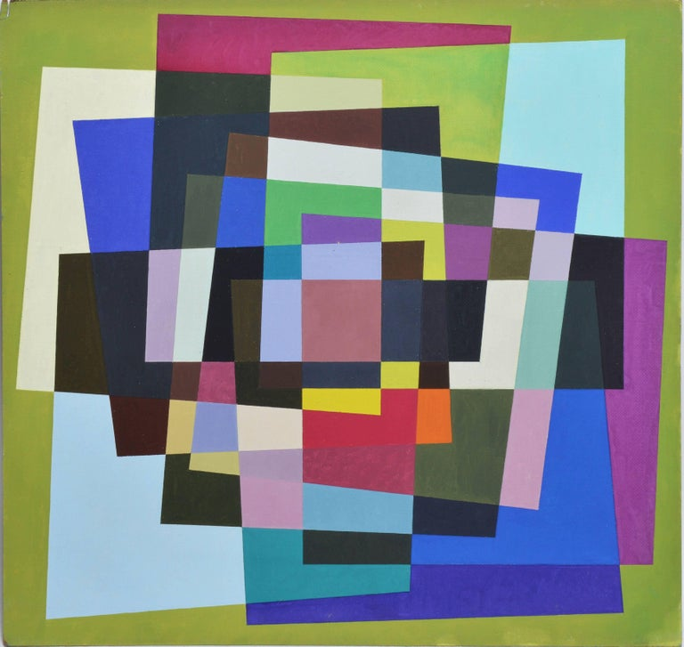 Geometric abstract oil painting, 1960, offered by the Benjaman Gallery