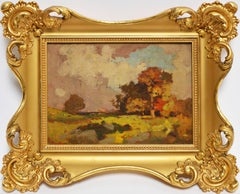 Antique American School Fall Landscape Oil Painting