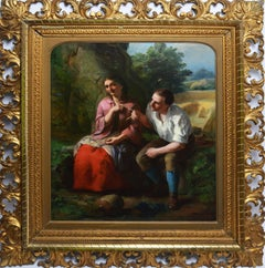 """American School, Portrait of a Young Couple, """"Pulling the String"""""""