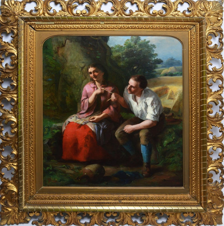 "American School, Portrait of a Young Couple, ""Pulling the String"""