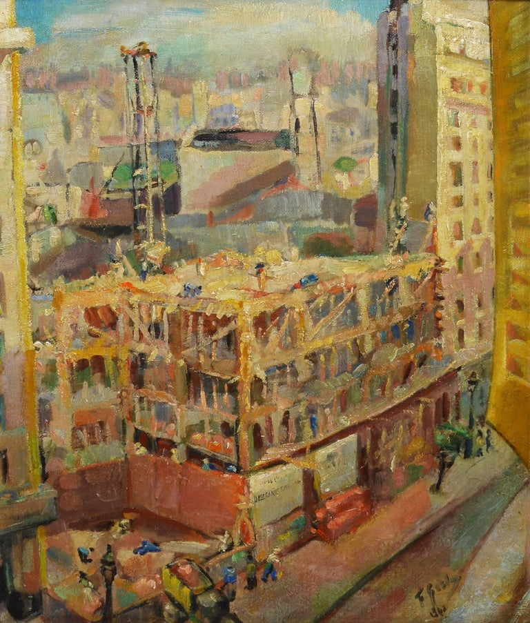 unknown ashcan school view of new york city painting for sale at 1stdibs. Black Bedroom Furniture Sets. Home Design Ideas