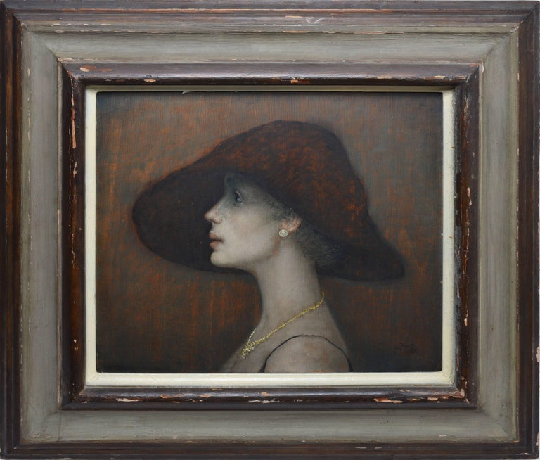 """Realist portrait of an Italian woman by Mario Russo (1925-2000).  Oil on board, circa 1963.  Signed lower right, """"M. Russo"""".  Displayed in a silver modernist frame.  Image size, 18""""L x 16""""H, overall 28""""L x 26""""H"""