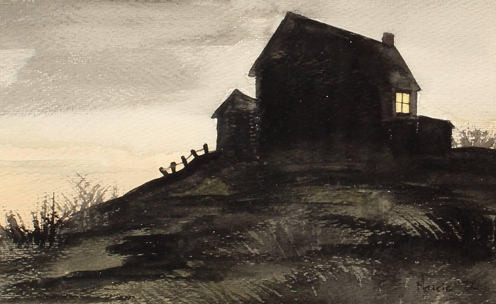 Nocturnal Landscape with House on a Hill