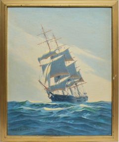 Seascape with a View of a Clipper Ship on the Ocean by Henry Bernahl