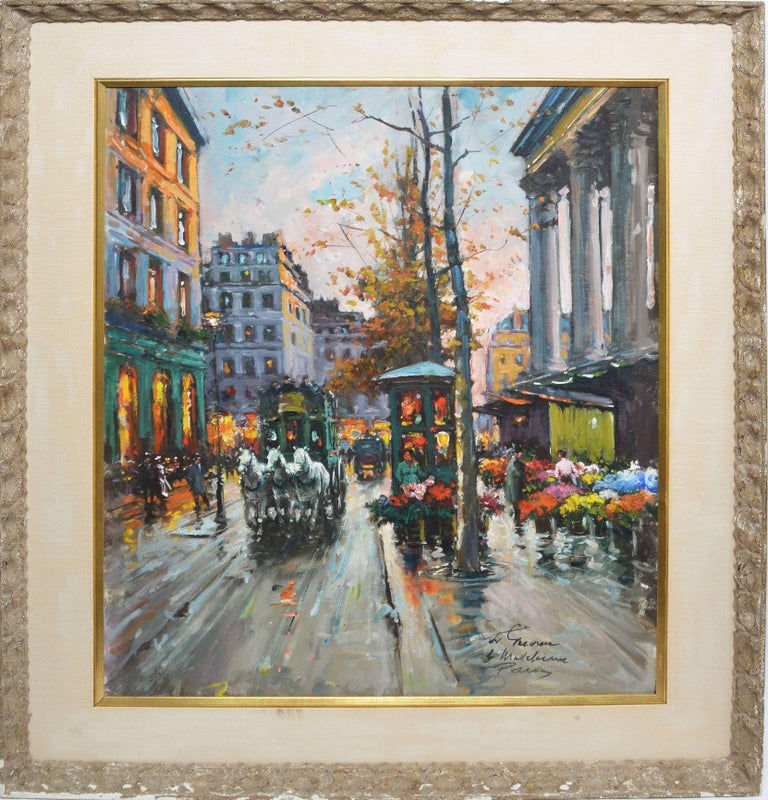 """Impressionist oil painting of Paris by Francois Gerome (b1895).  Oil on canvas, circa 1940.  Signed lower right, """"F. Gerome"""".  Displayed in a grey impressionist frame with linen liner.  Image size, 24""""L x 30""""H, overall 32""""L x 38""""H."""