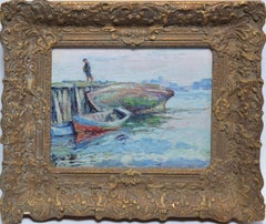 """Southern Fishing Dock with a Figure, """"Christmas Morning 1928"""" by George Renouard"""