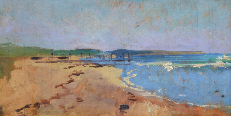 Modernist Beach View - Brown Landscape Painting by Unknown