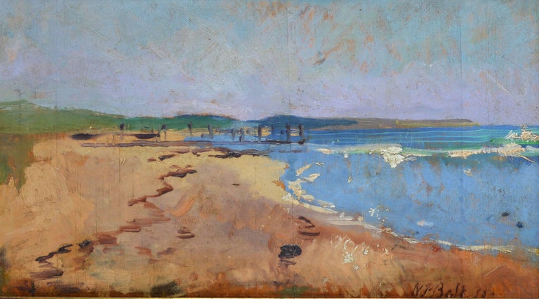 Modernist summer view of a beach.  Oil on board, circa 1935.  Signed illegibly lower right.  Displayed in a giltwood frame.  Image size, 17