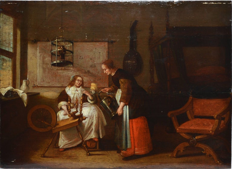 Old Master Interior View with Figures and a Birdcage
