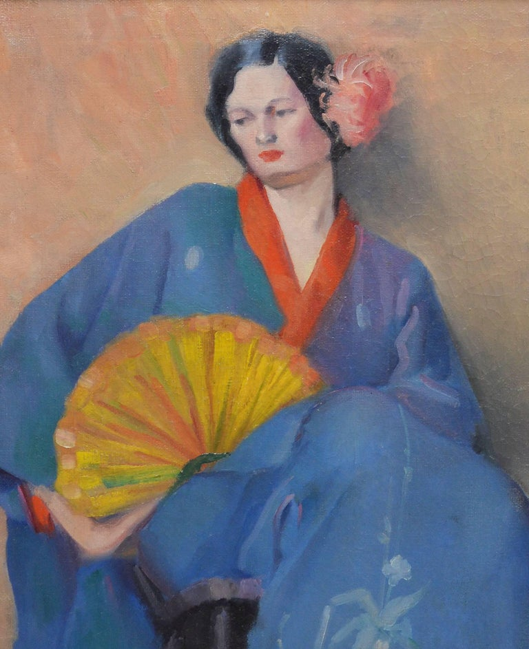 Portrait of a Woman in Japanese Clothes - Gray Portrait Painting by Unknown