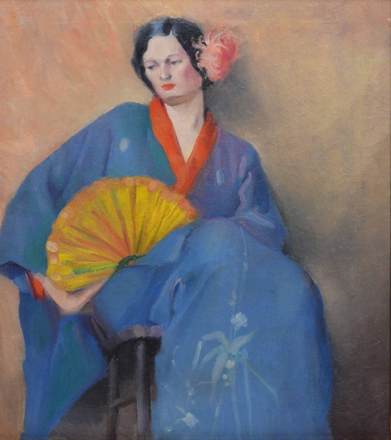 Portrait of a Woman in Japanese Clothes - Impressionist Painting by Unknown