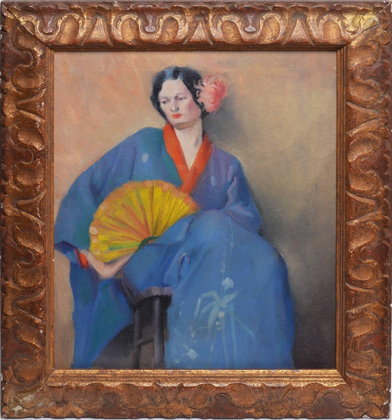 Unknown Portrait Painting - Portrait of a Woman in Japanese Clothes