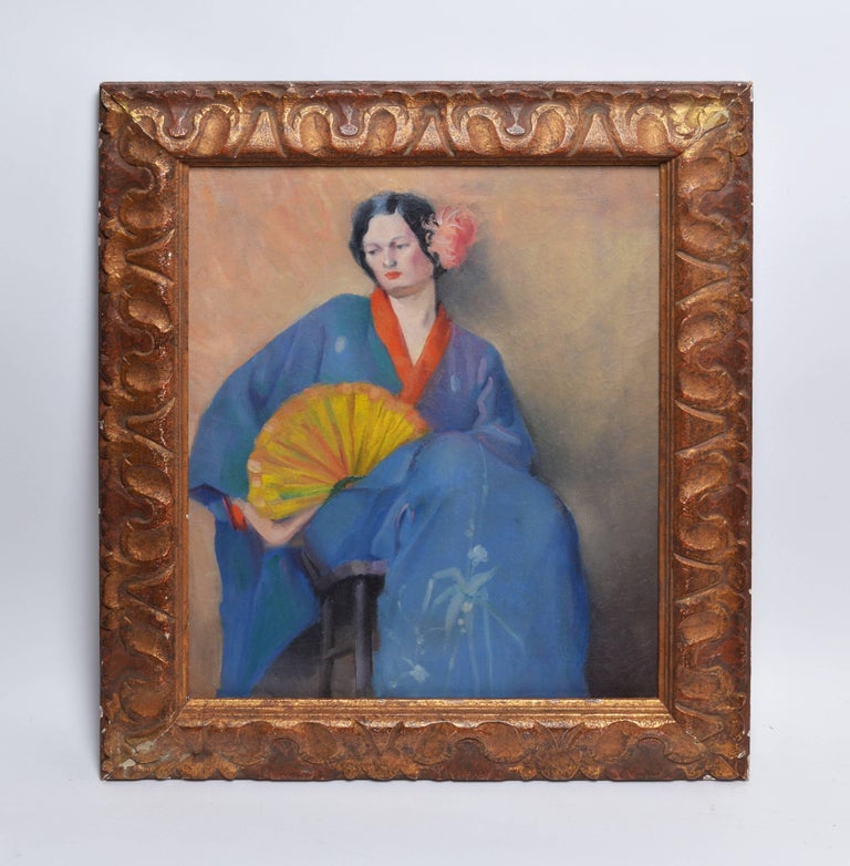Portrait of a Woman in Japanese Clothes - Painting by Unknown