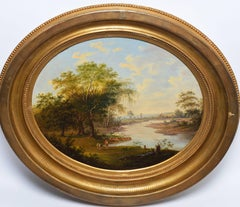Expansive 19th Century Hudson River School Panoramic Landscape with Figures