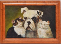 Three Best Friends, Antique American School Portrait of a Dog and Cats