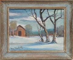 Snow Covered Landscape with a Barn, Bela DeTirefort